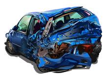Broken Blue Car Crash Vector Illustration Realistic Isolated On White Background