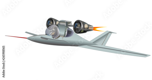 Photo  Futuristic fighter plane vector illustration isolated on white background