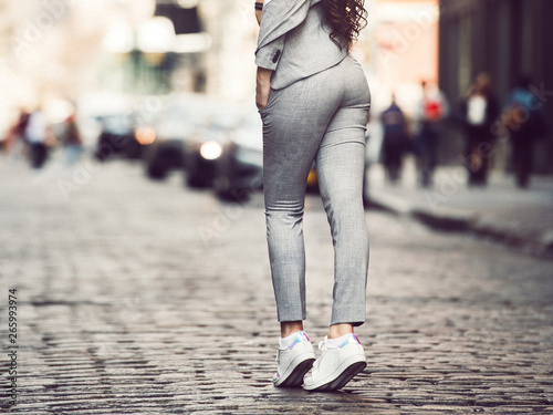 Female sexy smart casual grey cotton