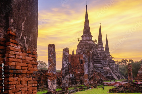 Fotografie, Obraz  Wat Phra Si Sanphet is a at Historical Park at Ayutthaya