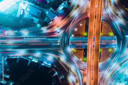 night city traffic on 4-way...