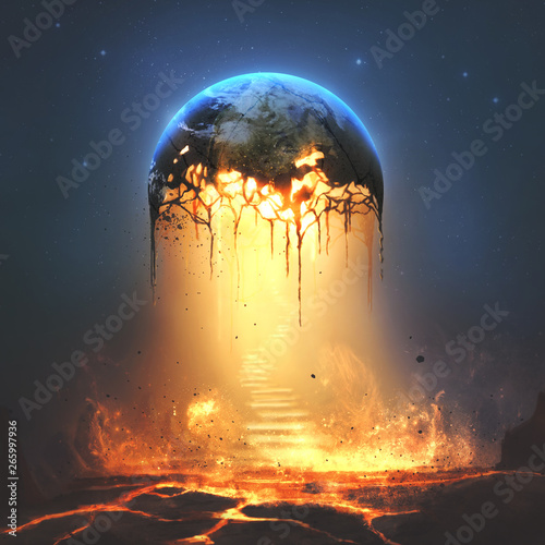 Fire and stairs from earth Wall mural