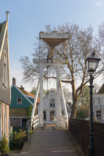 Kwakel Draw Bridge In The Historic Town Of Cheese Edam, Netherlands