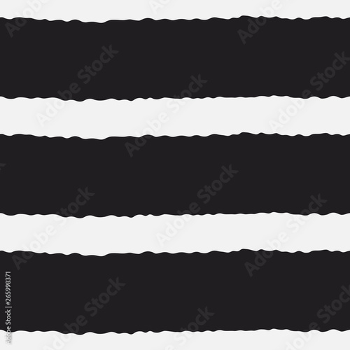 Fototapety, obrazy: Seamless vector pattern with horizontal wavy thick lines and stripes. Torn paper ripped edges effect. Decorative texture for print, textile, packaging, wrapping, web. Isolated repetitive tiles.