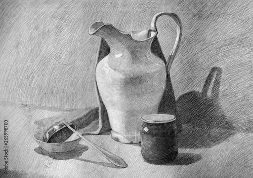 Fotografia still life, pencil drawing, sketch