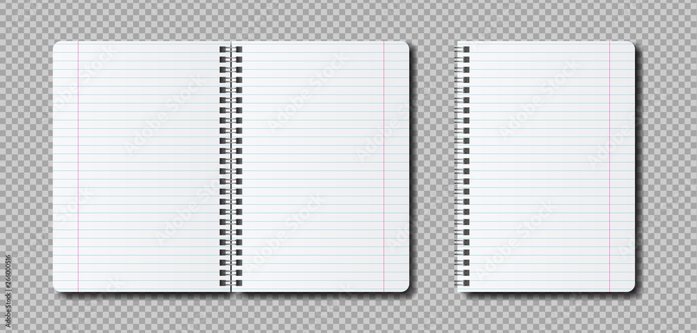 Fototapeta Vector realistic open Notepad template. Mockup notebook with lines for the label.