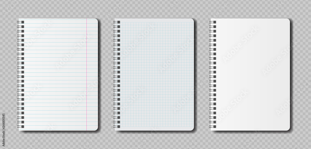 Fototapeta Realistic blank pages notebook template with spiral. Vector mockup notebooks with lines for writing or sketching.