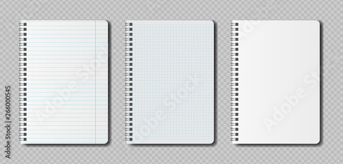 Realistic blank pages notebook template with spiral Fototapet