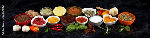 Photo  Spices and herbs on table. Food and cuisine ingredients.