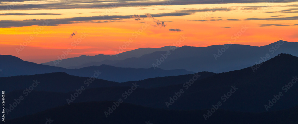 Fototapety, obrazy: Cowee point on Blue Ridge Parkway at Sunset.