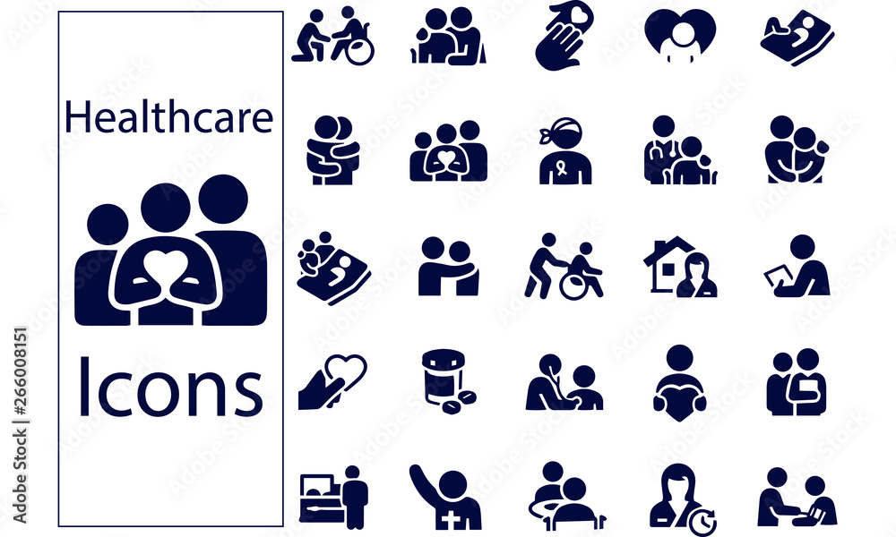 Fototapety, obrazy: Hospice and Palliative Healthcare Icons