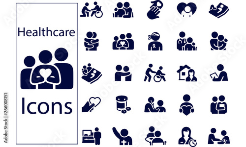 Hospice and Palliative Healthcare Icons Canvas-taulu