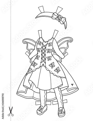 Paper Chibi Doll with Cut Out Dresses Canvas Print