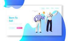 Young Handsome Sailors At Work Website Landing Page, Ship Crew, Male Characters In Uniform And Stripped Vests, Maritime Profession, Job Occupation Web Page. Cartoon Flat Vector Illustration, Banner