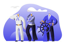 Captain At Steering Wheel, Sailors In Stripped Vests Holding Life Buoy And Ringing Bell. Ship Crew Male Characters In Uniform. Maritime Profession, Job Occupation. Cartoon Flat Vector Illustration