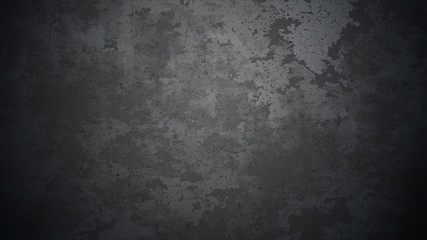 Vector dark concrete texture. Stone wall background. Black background.
