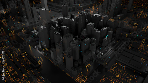 3d render of technology and city concept. Background with reflective abstract skyscrapers and digital elements.