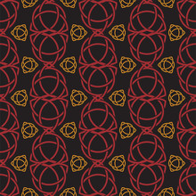 Triquetra Trefoil Seamless Pattern Red And Orange Tone On Black