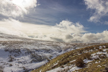 Snowy Landscape With Rolling Hills And Deep Valleys In The Yorkshire Dales