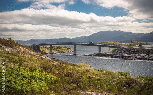 Photo sur Plexiglas Zen pierres a sable Bridge of Atlantic Ocean Road and landscape of norwegian Coast