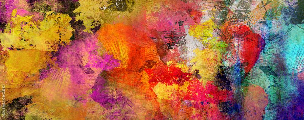 Fototapety, obrazy: texturen malerei gold rot cyan banner