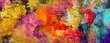 canvas print picture - texturen malerei gold rot cyan banner