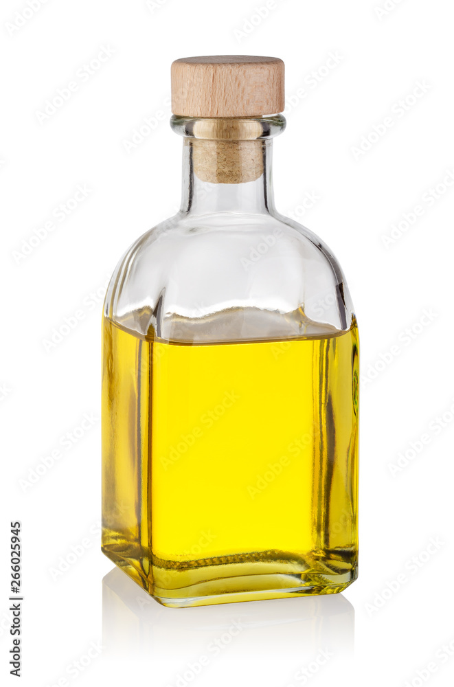 Fototapety, obrazy: Bottle of yellow oil with wooden cork