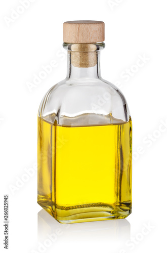Fototapeta Bottle of yellow oil with wooden cork obraz