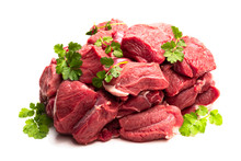 Boneless Lamb Steak Meat With Spices Isolated On White