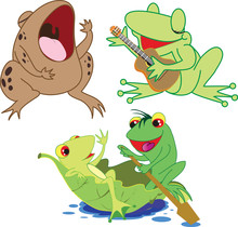 Green Frogs, Toad, Frog Party, Enamored Frogs, Singing Frogs, Drawing, White Background.
