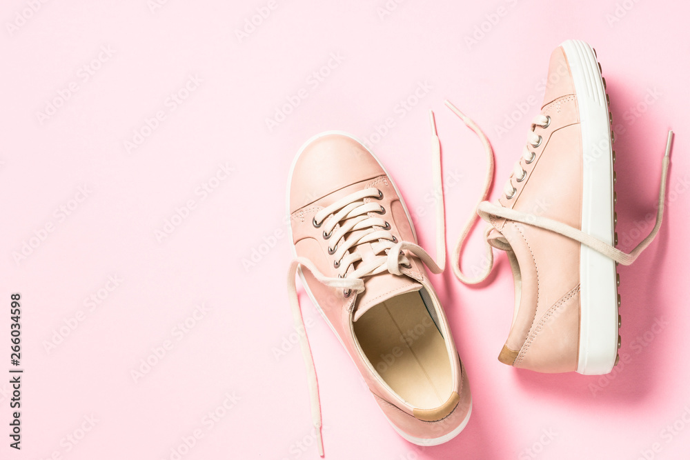 Fototapety, obrazy: Pink shoes on pink top view.