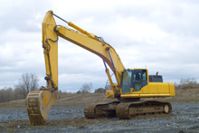 Yellow Excavator Construction Site Tractor Heavy Industry Mechanical Shovel