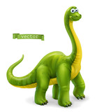 Fototapeta Dinusie - Brachiosaurus, sauropod dinosaur cartoon character. Funny animal 3d vector icon