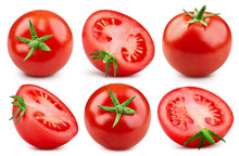 Tomato Collection Clipping Path Isolated On White