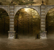 Background With Ancient Arcades In A Misty Forest - 3D Illustration