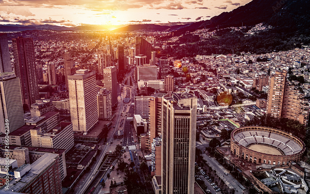 Fototapety, obrazy: Panoramic aerial view of downtown Bogota Colombia A