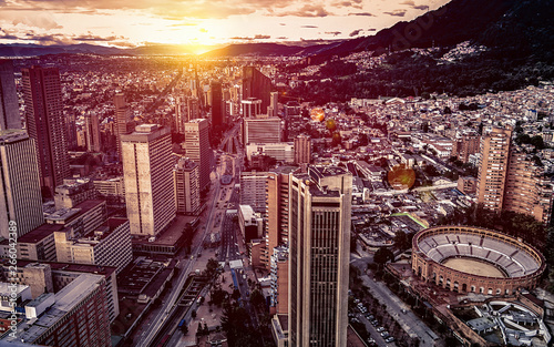 Photo Panoramic aerial view of downtown Bogota Colombia A