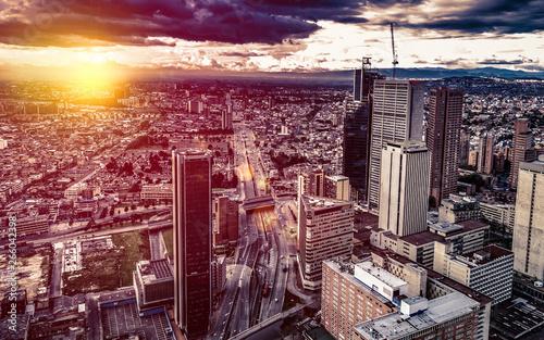Panoramic aerial view of downtown Bogota Colombia B Wallpaper Mural