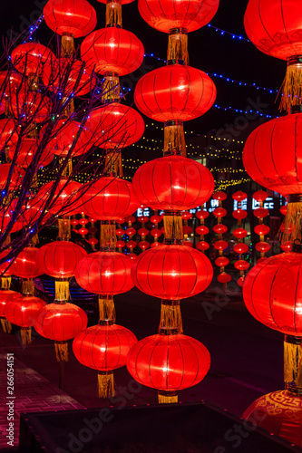 Photo Stands Shanghai Red lanterns at night