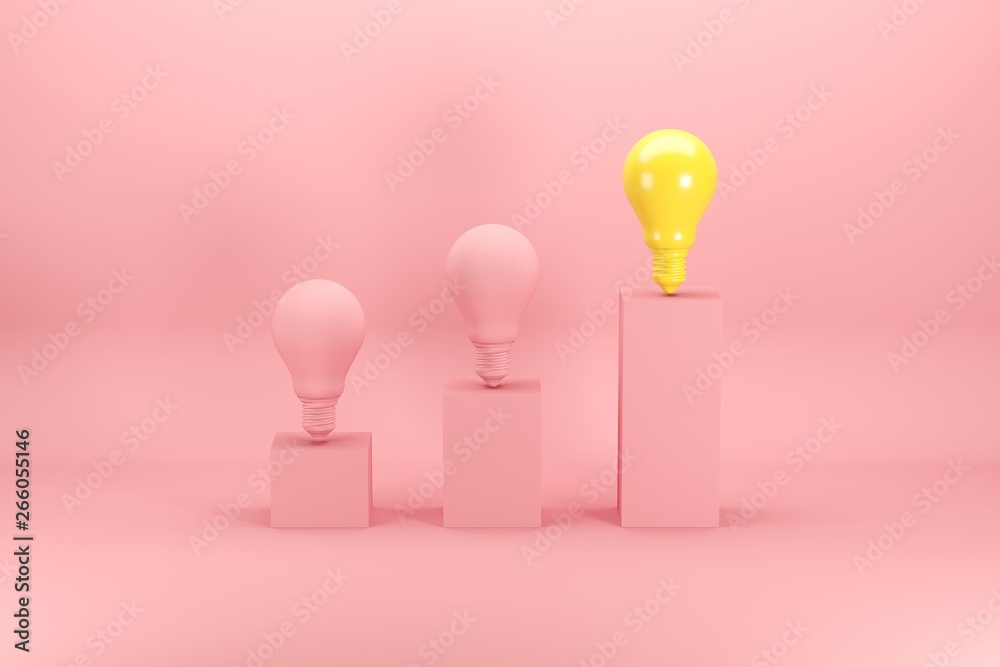 Fototapety, obrazy: Outstanding bright yellow light bulb among pink bulbs on bar chart on pink background. Minimal conceptual idea concept.