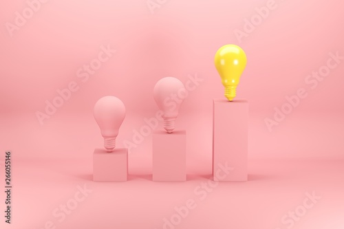 Valokuva  Outstanding bright yellow light bulb among pink bulbs on bar chart on pink background