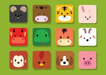 Flat Animal Faces Application Cartoon Chinese Zodiac