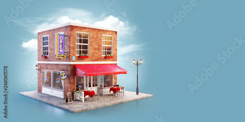 Foto  Unusual 3d illustration of a cozy cafe
