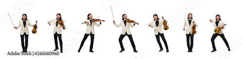 Fotografia, Obraz Man with violin playing on white
