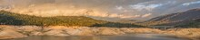 Panoramic Landscape Of Storm Clouds Passing Over Lake Oroville In Northern California After A Drought That Caused Low Water.