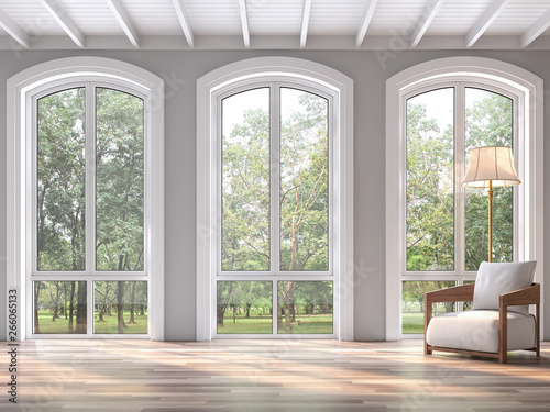 Fototapeta Modern classic living room with nature view 3d render.The Rooms have wooden floors and white wood ceilings.Decorated with white fabric chair,There are arch shape window sunlight shining into the room. obraz