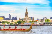 View  Of   Wat Arun Ratchawararam Ratchawaramahawihan Temple  And The Royal Barge Suphannahong Suphan Swan Boat Or Suphannahong Boat In Chao Phraya River At Bangkok Thailand