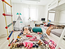 Interior.children's Playroom Without Children Full Of Toys In A Mess Scattered Around The Room Colorful