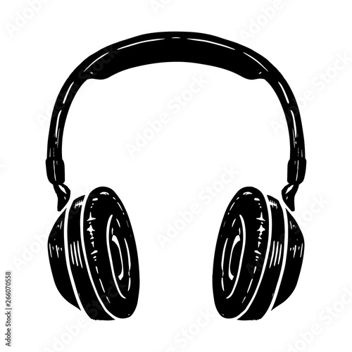Obraz na plátne Hand drawn illustration of headphones isolated on white background