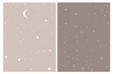 White Abstract Stars And Moon Isolated On A Beige And Brown Background.Infantile Style Night Sky Vector Design.Simple Hand Drawn Galaxy Vector Illustration Set For Card, Poster, Wall Art, Decoration.